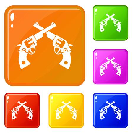 Revolvers icons set vector color