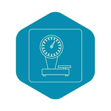 Weight scale icon in outline style isolated vector illustration Vettoriali