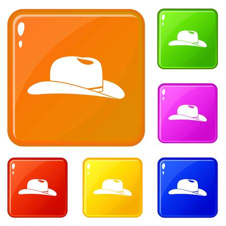 Cowboy hat icons set collection vector 6 color isolated on white background