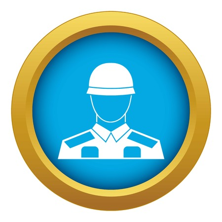 Soldier icon blue vector isolated