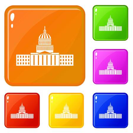 Capitol icons set vector color