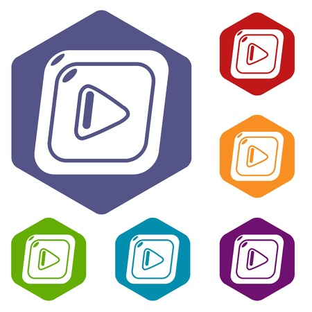 Video icons vector colorful hexahedron set collection isolated on white  イラスト・ベクター素材