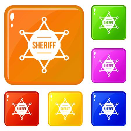 Sheriff badge icons set collection vector 6 color isolated on white background