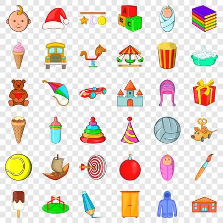 Carousel icons set, cartoon style