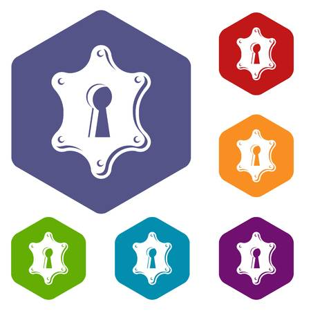 Keyhole icons vector hexahedron