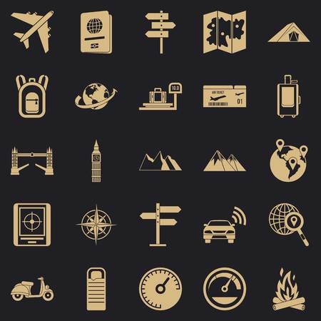 Abroad icons set, simple style