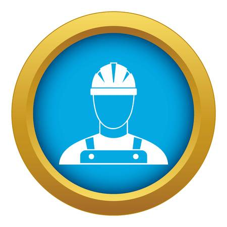 Builder icon blue vector isolated on white background for any design