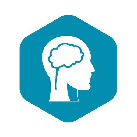 Head with brain icon. Simple illustration of head with brain vector icon for web