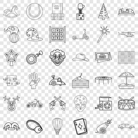 Park icons set, outline style