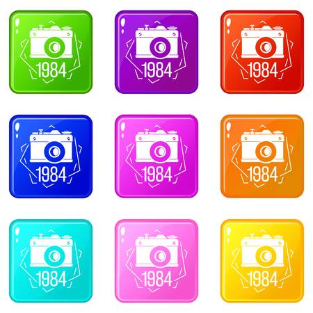 1984 photo camera icons set 9 color collection