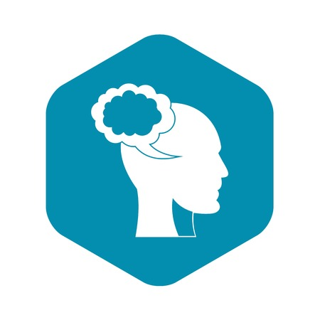 Speech bubble with human head icon. Simple illustration of speech bubble with human head vector icon for web Illustration