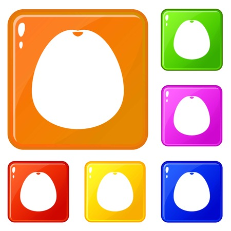 Pomelo icons set collection vector 6 color isolated on white background