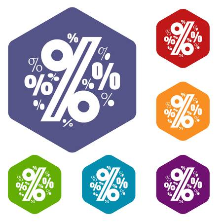 Percentage icons vector hexahedron