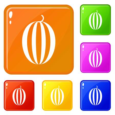 Striped melon icons set collection vector 6 color isolated on white background
