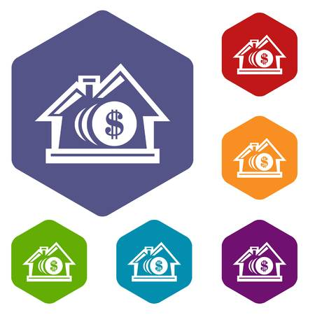Bank icons vector hexahedron Illustration