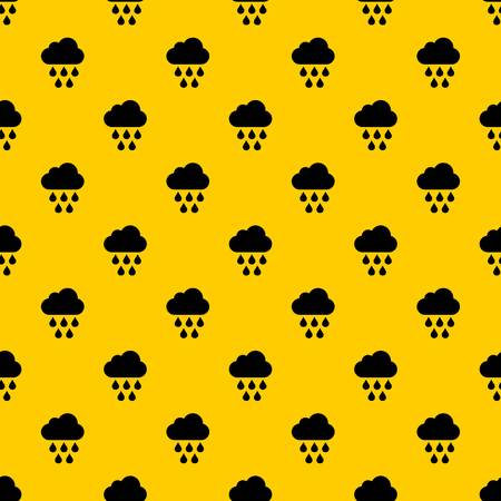 Cloud with rain drops pattern seamless vector repeat geometric yellow for any design