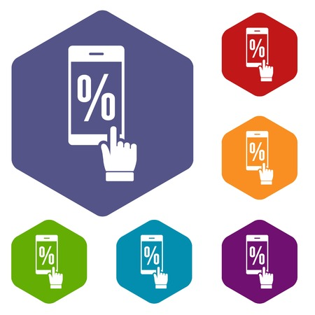 Percent on screen icons vector hexahedron Illustration