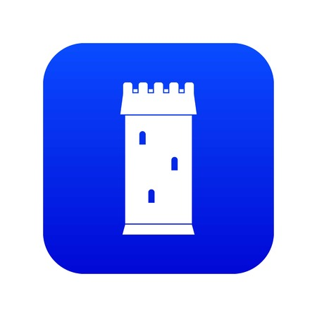 Fortress tower icon digital blue