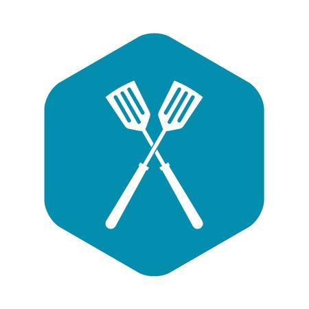 Two metal spatulas icon. Simple illustration of two metal spatulas vector icon for web Illustration