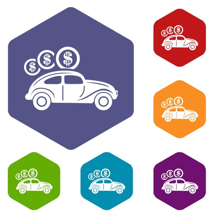 Car on credit icons vector hexahedron