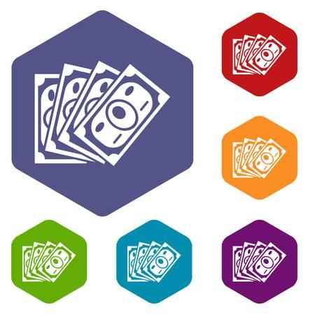 Money icons vector hexahedron