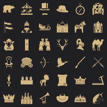 Horsemanship icons set, simple style