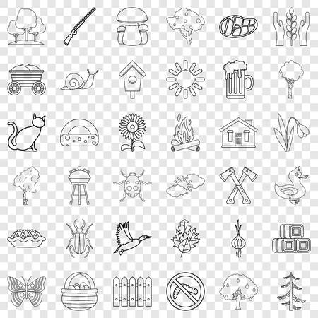 Settlement icons set, outline style