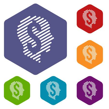 Dollar sign icons vector hexahedron