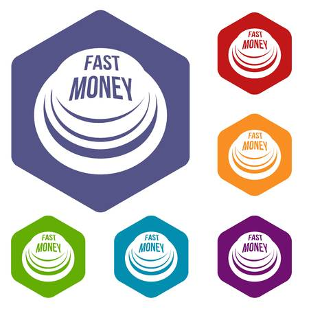 Fast money button icons vector hexahedron Stock Vector - 123421109