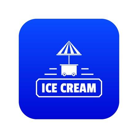 Ice cream stand icon blue vector