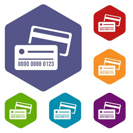 Credit card icons vector hexahedron Illustration