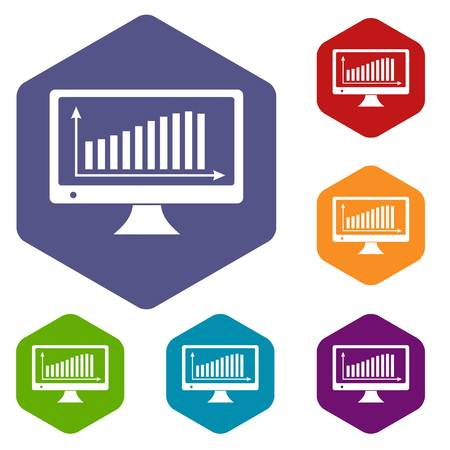 Graph on the monitor icons vector hexahedron Illustration