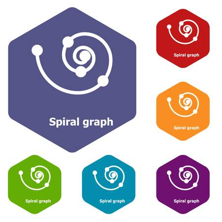 Spiral graph icons vector hexahedron Illustration