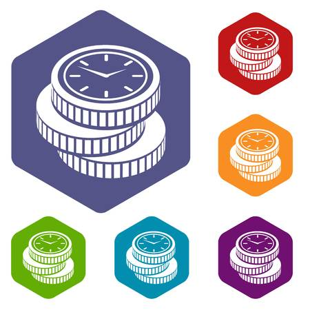 Coin icons vector hexahedron