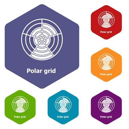 Polar grid icons vector hexahedron