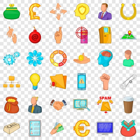 Command icons set, cartoon style