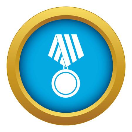 Military medal icon blue vector isolated Illustration