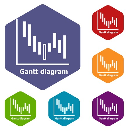 Gantt diagram icons vector hexahedron