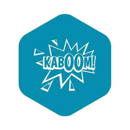 Kaboom, explosion icon, simple style