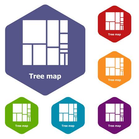Tree map icons vector hexahedron Çizim