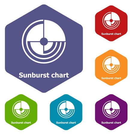 Sunburst chart icons vector hexahedron
