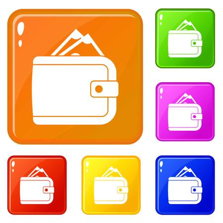 Purse with money icons set collection vector 6 color isolated on white background