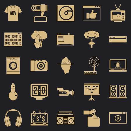 Telly icons set. Simple set of 25 telly vector icons for web for any design