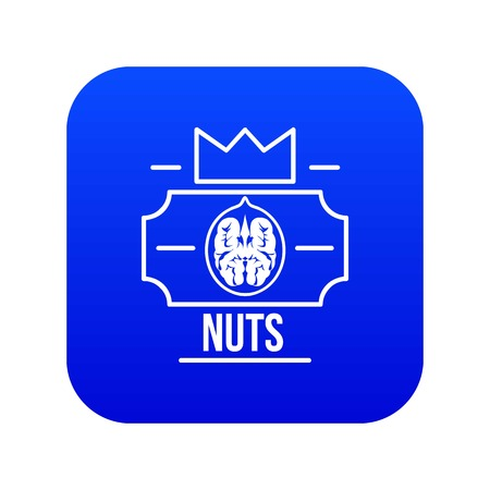 Walnut icon blue vector