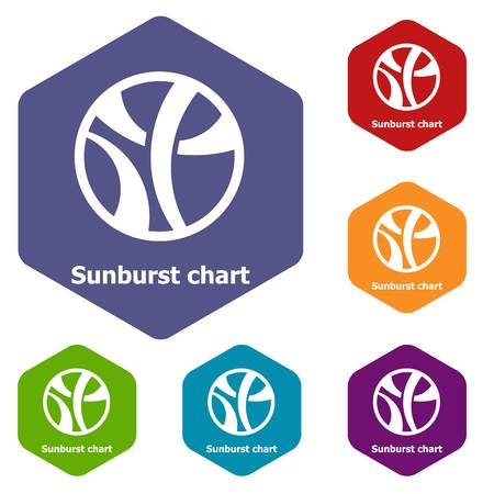 Sunburst chart icons vector hexahedron