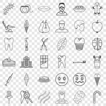 Pain icons set, outline style