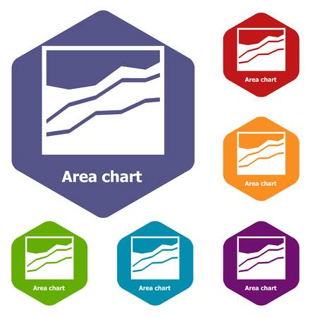 Area chart icons vector hexahedron