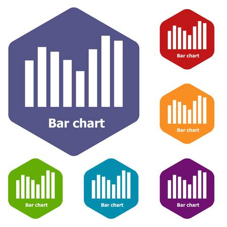 Bar chart icons vector hexahedron Çizim
