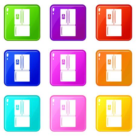 Fridge icons set 9 color collection isolated on white for any design