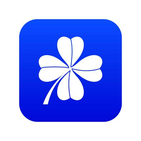 Four leaf clover icon digital blue for any design isolated on white vector illustration Foto de archivo - 130239738